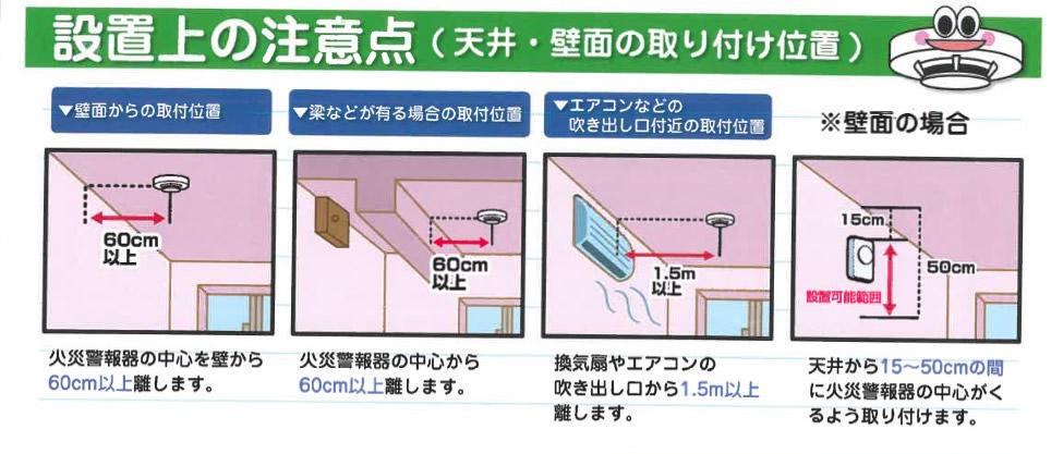 住宅用火災報知器 設置上の注意点